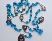 Aqua Glass Bead Seven Sorrows (Dolors) of Mary Rosary