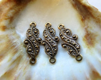 NEW . Stamped Antiqued Brass Links (4 pieces) 6 by 17 mm
