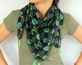 Pure Cotton Head Scarf, Boho Chic Ethnic Scarf %100 Cotton Cheesecloth Lightweight, Black Blue Green Soft Touch Summer Handmade