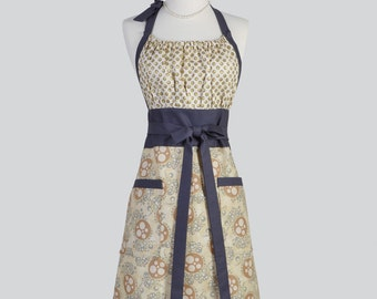 Cute Kitsch Retro Apron - Full Vintage Womens Apron in Classic Taupe and Honey with Charcoal Gray Trims Kitchen Apron Cute Apron Chef Apron