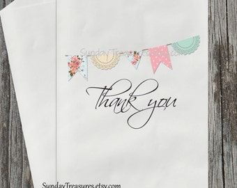 12Pk Vintage Shabby Banner / Thank You Candy Buffet Party Favor Gift Bags / Baby Shower Birthday Wedding Bridal / Personalized (refvntg)