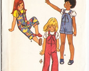 Vintage 1970s Butterick 6559 Sewing Pattern Children's Overalls Size 4