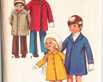 Vintage 1972 Simplicity 9903 Sewing Pattern Child's Winter and Spring Coats Size 5