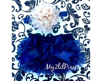 Navy Blue tutu BLOOMER and Baby Girl Headband Set- Baby Bow bum Bloomer, Beige Flower HEADBAND, flower headband,newborn photo,cake smash-