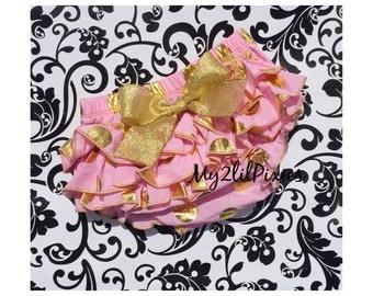 Baby Girl Pink and Gold bloomer, diaper cover , polka dot ruffle bum, cake smash bloomer , ruffle bum bloomer, baby girl gold dot