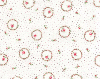 Yuwa Circles of Roses on Light Cream with Pink Pin Dot AT816888A Cotton Fabric