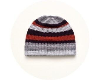 Boyfriend beanie hat, striped winter hat, knit accessory FREE SHIPPING