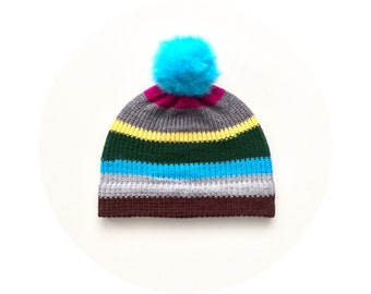 Bobble hat, winter pom pom beanie, knitted accessory FREE SHIPPING