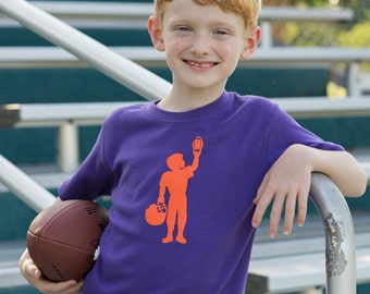 Football Player Short Sleeved Nostalgic Graphic Tee in Purple with Orange