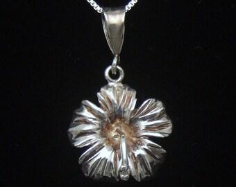 Vintage Hibiscus Pendant Necklace, 40's Hawaiian Jewelry, Vintage Sterling Silver Pendant Necklace, 925 Silver Box Chain, Dainty Flower
