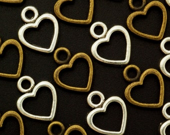SALE - 15 Outline Heart Charms - 12mm x 10mm - You Choose Antique Silver or Gold Plated - Handmade Jump Rings Included - 100% Guarantee