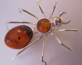 Spider Genuine Amber Sterling Silver Brooch Pin Vintage Jewelry Jewellery FREE SHIPPING