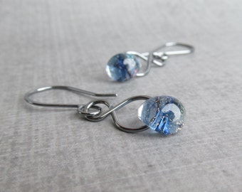 Indigo Earrings, Blue Dangle Earrings, Indigo Blue Lampwork Glass Earrings, Handmade Silver Dangle Earrings, Glass Drop Sparkle Earrings