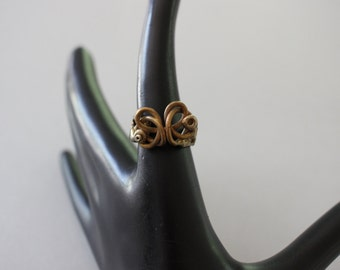 Unusual Vintage Modernist Pal Kepenyes Style Brass Ring Size 8 PK723 - Vintage Oxidized Brass And Steel Boho Pinky Ring