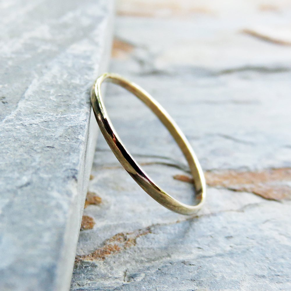 14k Yellow Gold High Polished 2mm Traditional Milgrain: 1.2mm Thin Half Round Wedding Band Or Promise Ring Solid 14k
