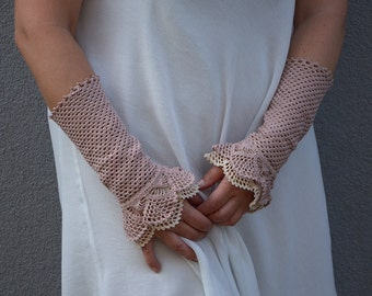 Pastel Landscape - crocheted open work lacy romantic wrist warmers cuffs fall winter fashion in dusty pink