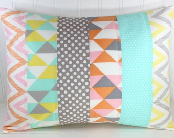 Pillow Cover, Nursery, Patchwork Pillow, Gender Neutral Nursery Decor, 12 x 16 Inches, Mint Green, Gray, Grey, Yellow, Peach, Pink