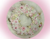SECRET SALE Half Price Large Wreath of White Roses with Pink Centers Accented With Greenery and Ribbons  Furniture Applique