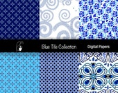 Blue Tile Collection Digital Scrap Booking Papers in blues, teal, white