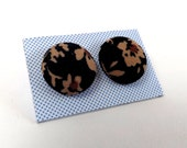 Dark Brown Floral Print Patterned Upcycled Fabric Button Stud Earrings 15mm or 19mm