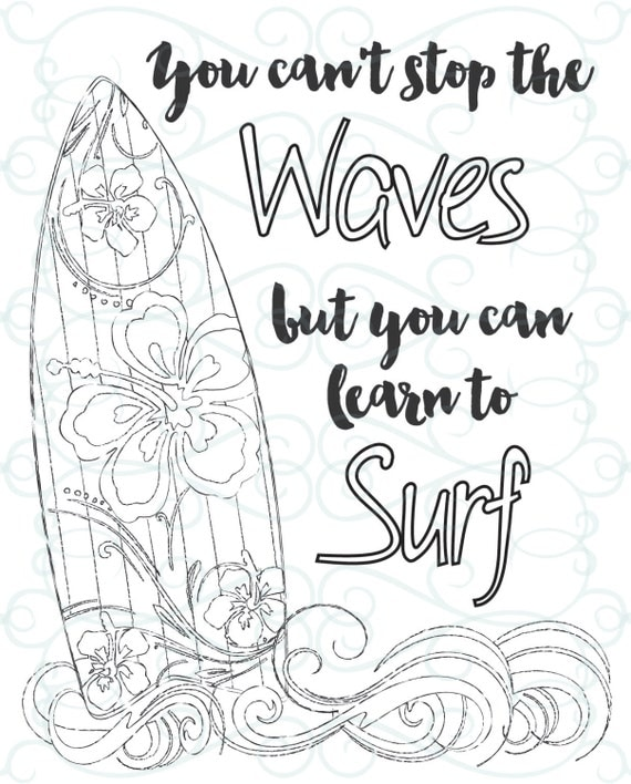 Free Printable Inspirational Coloring Pages Adult Inspirational Coloring Page Printable 03Learn To Surf