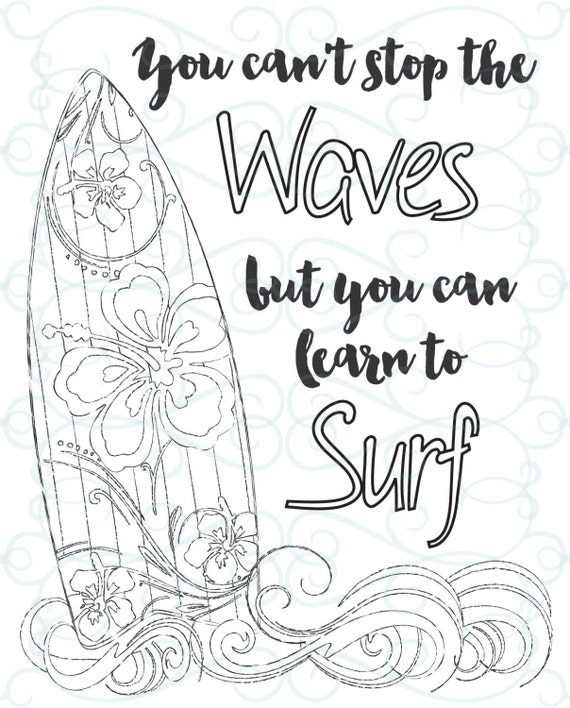 adult inspirational coloring page printable 03 learn to surf - Surfboard Coloring Pages Print