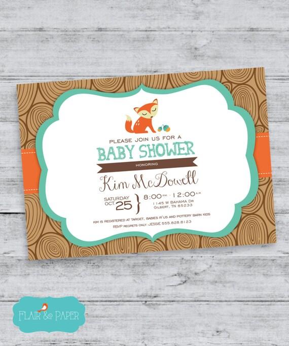 baby shower invitation fox woodland animals baby shower typography
