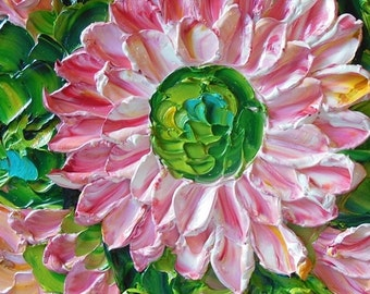Gift , Oil Painting  Shades of Pink Daisy , Impasto , Original Painting , Palette Knife , Jan Ironside ,