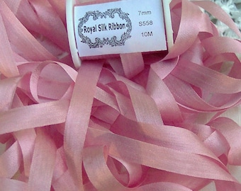 Pure Silk Ribbon 7 mm 1/4 inch wide 10 yds Coral Color