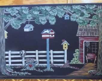 Original Screen Painting, Hand Painted Art, Country Scene On Old Wood Screen, Farm Scene, Bird Houses, Recycled Art Screen, Home Decor