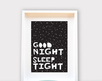 Good Night Sleep Tight / Wall Art 8x10 Print, Kids Room Decor / Nursery Art Print / Kids Interior Design