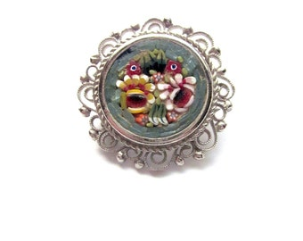 Vintage Micro Mosaic Brooch Floral Jewelry Italy
