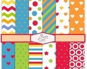 ON SALE brights digital paper, Digital paper pack -color No.22, digital scrapbook paper,colorful, chevron patterns,polka dots