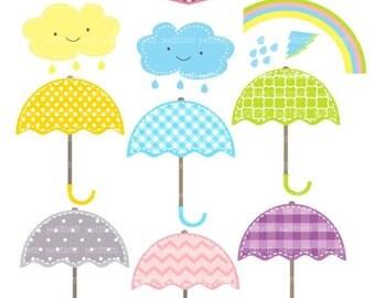 ON SALE Umbrellas clip art - Digital clip art  for all use, umbrella rainy season, instant download clip art, umbrella