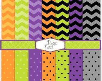 ON SALE Halloween scrapbook paper - Digital paper Halloween color, purple green orange black INSTANT Download