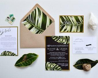 LEANA SUITE // Botanical Palm Leaf Wedding Invitation, Banana Leaf, Tropical Palm, Beach Wedding, Matte Gold Border, Desintation Invitation