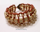 Moroccan Red Leather, Desert Opal Crystal Chaton and Gold Chain Bracelet