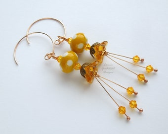 Sunspot lampwork earrings, golden yellow earrings, flower earrings, nature inspired, bronze earrings