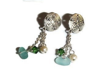Shell Sand Dollar Dangle Earrings Pearl Crystal Sea Glass. PRICE REDUCED