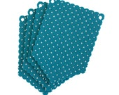 Turquoise Scallop Dot Laser Cut Flags for Banners and Buntings DIY