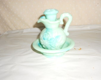 Avon Green Marbled Glass Pitcher and Basin small