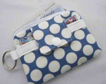 Zippy Zipper Wallet Pouch Key Blue and White Polka Dots Card holder -