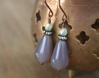 JULY SALE 50% Off  - Dusty Lilac and Mint Green Teardrop Dangle Earrings, Vintage, Boho, Bohemian, Mixed Metal Jewelry, Rhinestone Earrings