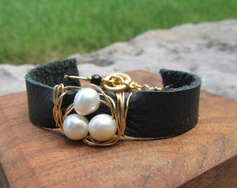 Leather Bracelet Pearl Bracelet Black Gold Wire CarolEJewelry Made to Order