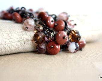 Fall Fashion Charm Bracelet / Goldstone Glass Wire Wrapped Beaded Bracelet