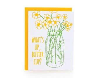 buttercup - letterpress card