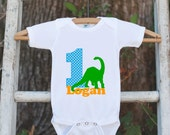 First Birthday Dinosaur Outfit - Personalized Dino Bodysuit For Boy's 1st Birthday Party - Dinosaur Onepiece Birthday Outfit With Name & Age