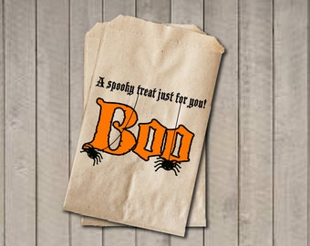 BOO Halloween Candy Bags, Candy Bags, Halloween Favor Bag, Halloween Candy Bags, Halloween Treat Bag, Halloween Party - Orange & Black