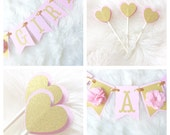 It's a girl banner, baby shower banner, pink and gold baby shower banner