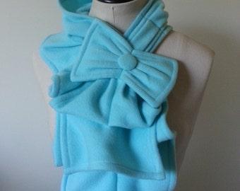 Ruffled Bow Scarf - Turquoise